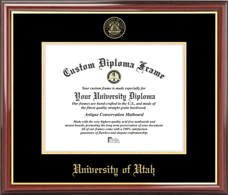 College - University of Utah Utes - Embossed Seal - Mahogany Gold Trim - Diploma Frame