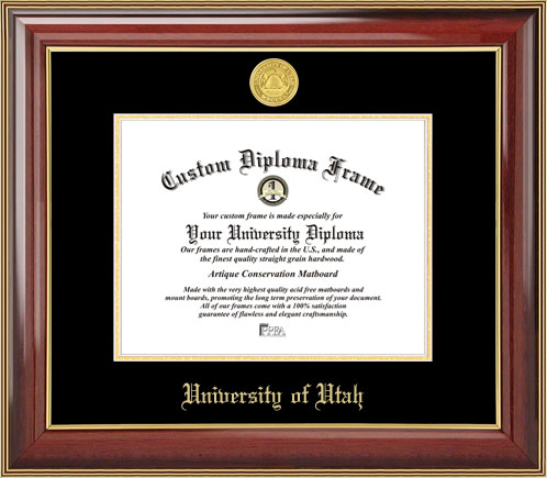 College - University of Utah Utes - Gold Medallion - Mahogany Gold Trim - Diploma Frame
