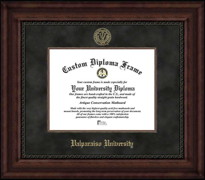 College - Valparaiso University Crusaders - Embossed Seal - Suede Mat - Mahogany - Diploma Frame