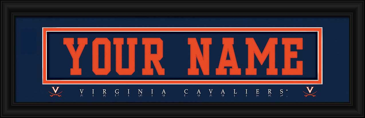 College - Virginia Cavaliers - Personalized Jersey Nameplate - Framed Picture