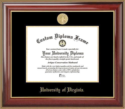 College - University of Virginia Cavaliers - Gold Medallion - Mahogany Gold Trim - Diploma Frame
