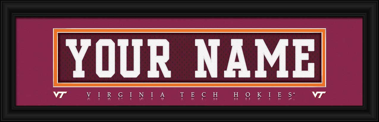 College - Virginia Tech Hokies - Personalized Jersey Nameplate - Framed Picture