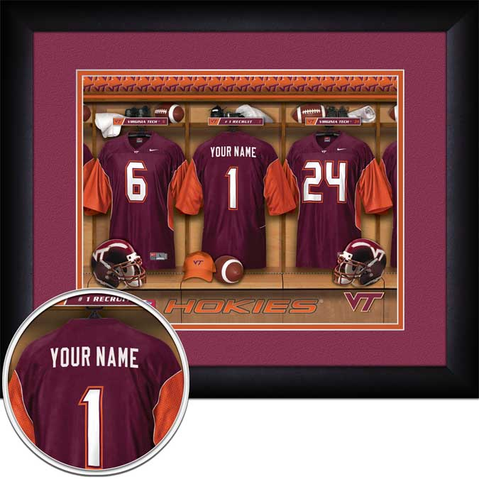 College - Virginia Tech Hokies - Personalized Locker Room - Framed Picture