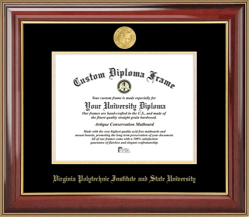 College - Virginia Tech Hokies - Gold Medallion - Mahogany Gold Trim - Diploma Frame