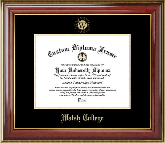 College - Walsh College  - Embossed Logo - Mahogany Gold Trim - Diploma Frame
