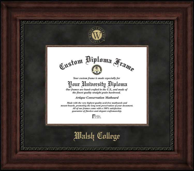 College - Walsh College  - Embossed Seal - Suede Mat - Mahogany - Diploma Frame