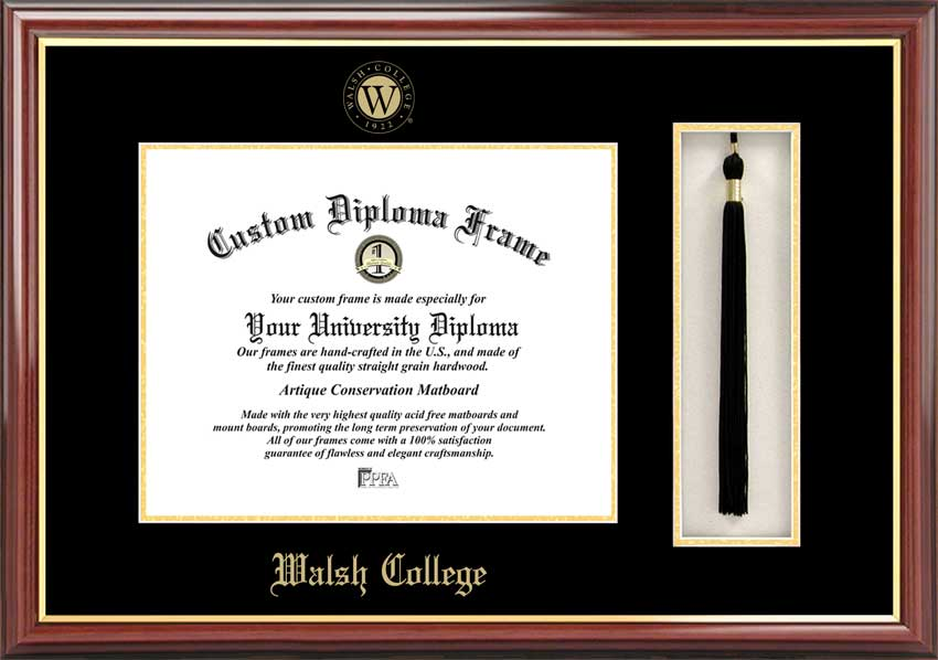 College - Walsh College  - Embossed Logo - Tassel Box - Mahogany - Diploma Frame