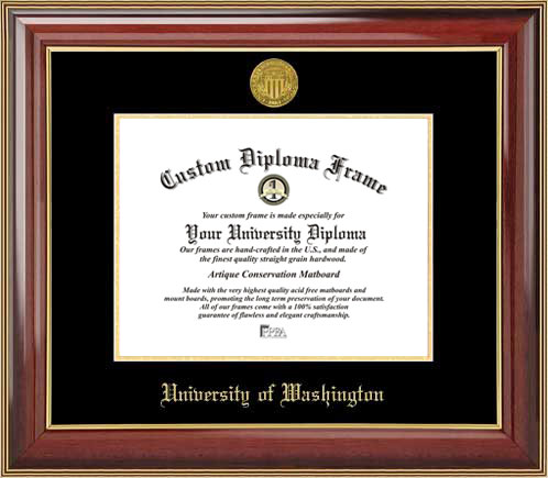 College - University of Washington Huskies - Gold Medallion - Mahogany Gold Trim - Diploma Frame