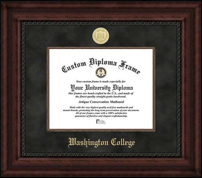College - Washington College Shoremen - Gold Medallion - Suede Mat - Mahogany - Diploma Frame