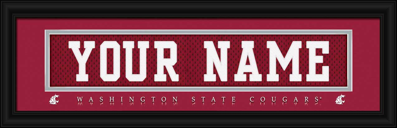 College - Washington State Cougars - Personalized Jersey Nameplate - Framed Picture