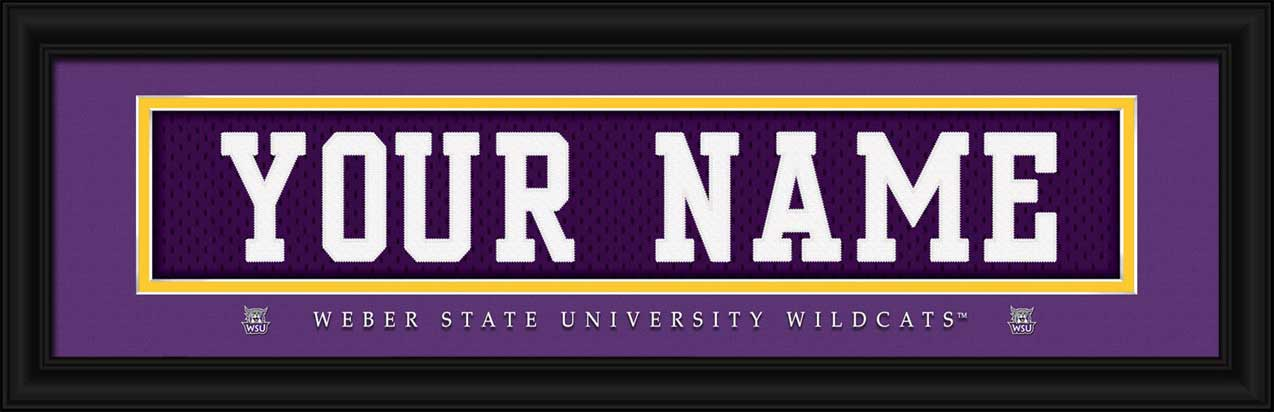 College - Weber State Wildcats - Personalized Jersey Nameplate - Framed Picture