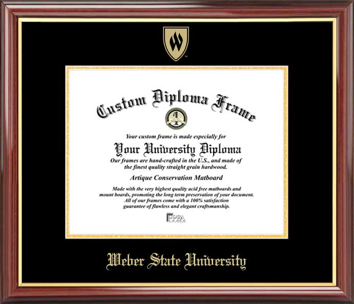 College - Weber State University Wildcats - Embossed Seal - Mahogany Gold Trim - Diploma Frame