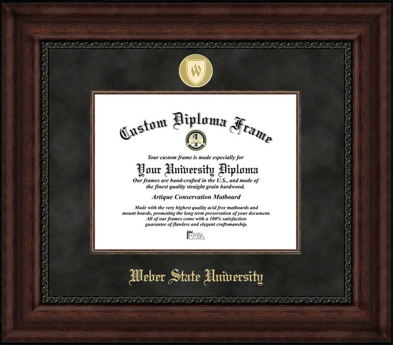 College - Weber State University Wildcats - Gold Medallion - Suede Mat - Mahogany - Diploma Frame