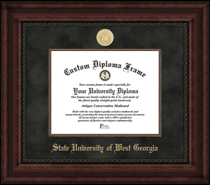 College - State University of West Georgia Wolves - Gold Medallion - Suede Mat - Mahogany - Diploma Frame