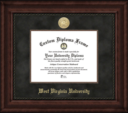College - West Virginia University Mountaineers - Gold Medallion - Suede Mat - Mahogany - Diploma Frame