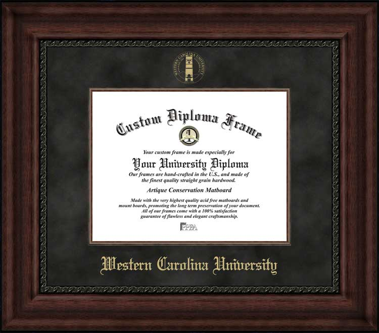 College - Western Carolina University Catamounts - Embossed Seal - Suede Mat - Mahogany - Diploma Frame