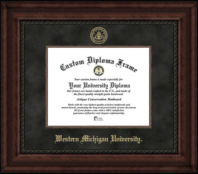 College - Western Michigan University Broncos - Embossed Seal - Suede Mat - Mahogany - Diploma Frame