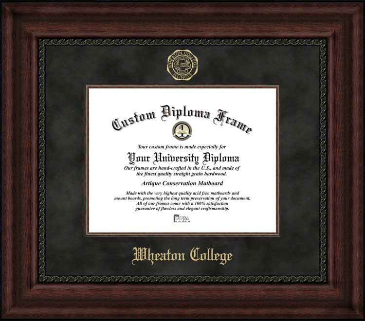 College - Wheaton College Thunder - Embossed Seal - Suede Mat - Mahogany - Diploma Frame