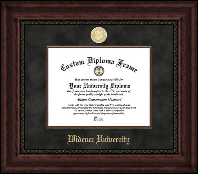 College - Widener University Pride - Gold Medallion - Suede Mat - Mahogany - Diploma Frame