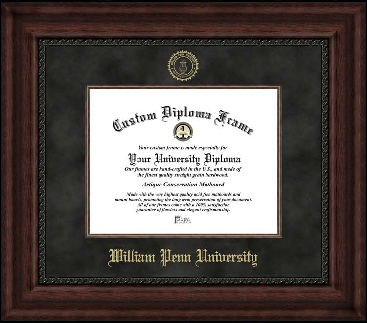 College - William Penn University Statesmen - Embossed Seal - Suede Mat - Mahogany - Diploma Frame