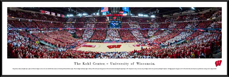 College - Wisconsin Badgers - Kohl Center - Red And White Stripe Out - Framed Picture