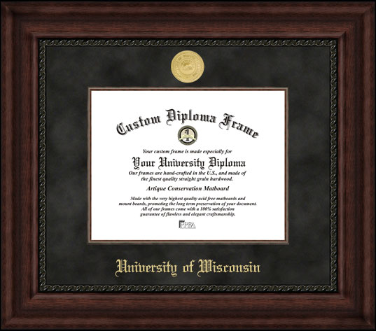 College - University of Wisconsin Badgers - Gold Medallion - Suede Mat - Mahogany - Diploma Frame
