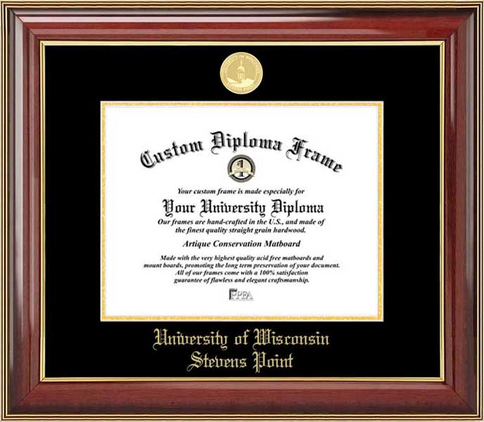 College - University of Wisconsin-Stevens Point Pointers - Gold Medallion - Mahogany Gold Trim - Diploma Frame