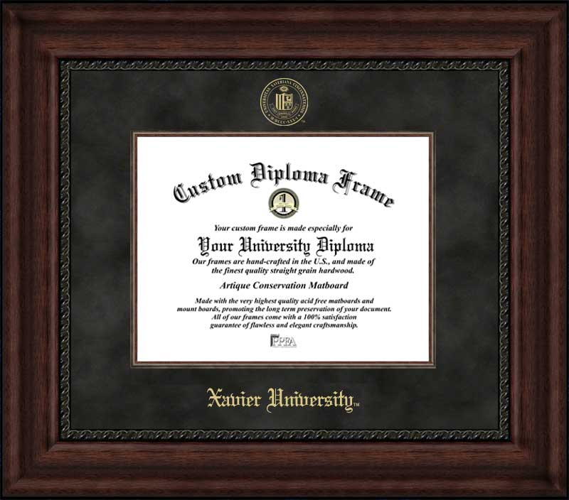 College - Xavier University Musketeers - Embossed Seal - Suede Mat - Mahogany - Diploma Frame