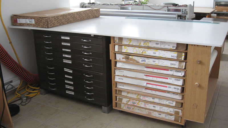 Paper Mat Wood Shelving on Casters