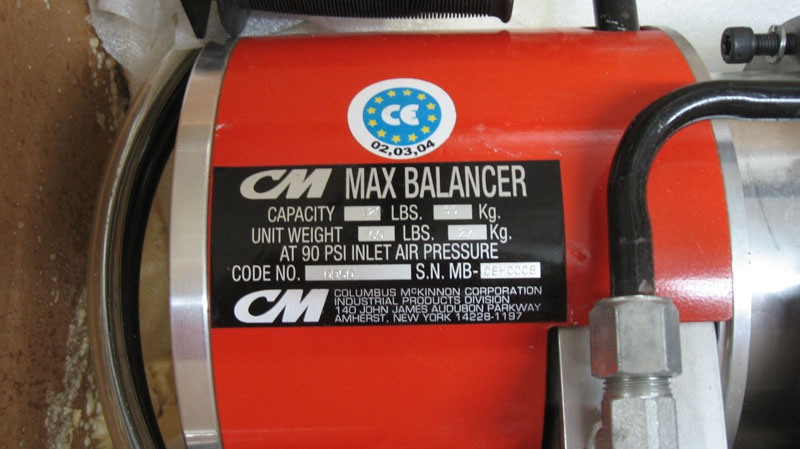 CM Max 0950 Air Balancer Chain Hoist