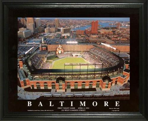 MLB - Baltimore Orioles - Camden Yards Aerial - Dusk - Lg - Framed Picture