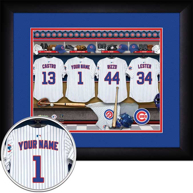 MLB - Chicago Cubs - Personalized Locker Room - Framed Picture