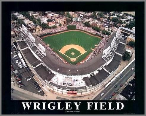 MLB - Chicago Cubs - Wrigley Field Aerial - Med - Wood Mounted & Laminated Print