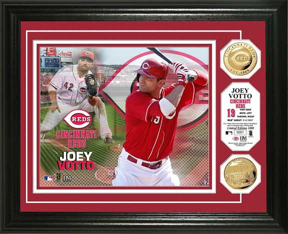 MLB - Cincinnati Reds - Joey Votto - Gold Coins - Framed Picture