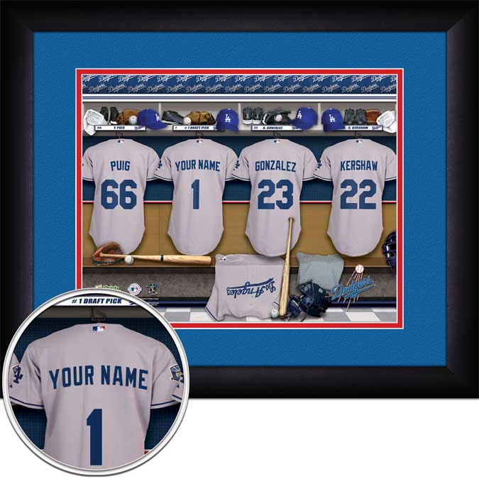MLB - Los Angeles Dodgers - Personalized Locker Room - Framed Picture