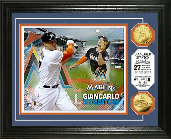 MLB - Miami Marlins - Giancarlo Stanton - Gold Coins - Framed Picture