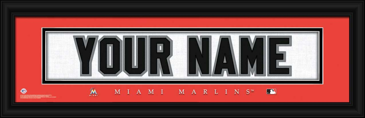 MLB - Miami Marlins - Personalized Jersey Nameplate - Framed Picture