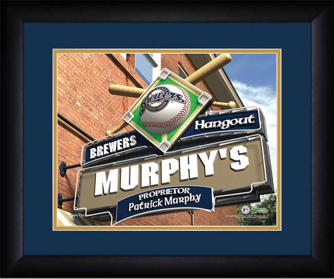 MLB - Milwaukee Brewers - Personalized Hangout Sign - Framed Picture