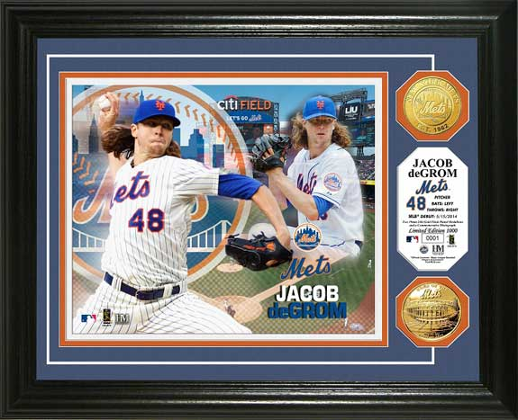 MLB - New York Mets - Jacob deGrom - Gold Coins - Framed Picture