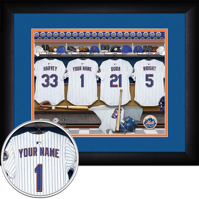 MLB - New York Mets - Personalized Locker Room - Framed Picture