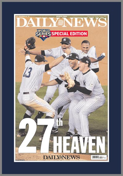 MLB - New York Yankees - 27th Heaven - World Series 2009 - Plaque Mounted & Laminated Newspaper