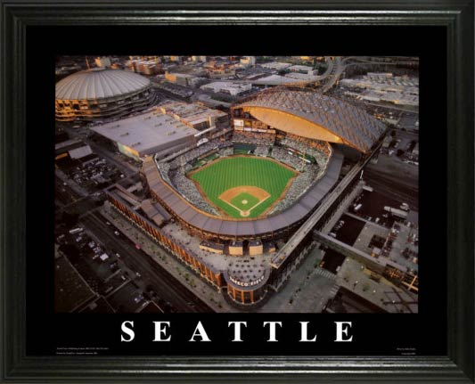 MLB - Seattle Mariners - Safeco Field Aerial - Dusk - Lg - Framed Picture