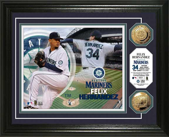 MLB - Seattle Mariners - Felix Hernandez - Gold Coins - Framed Picture