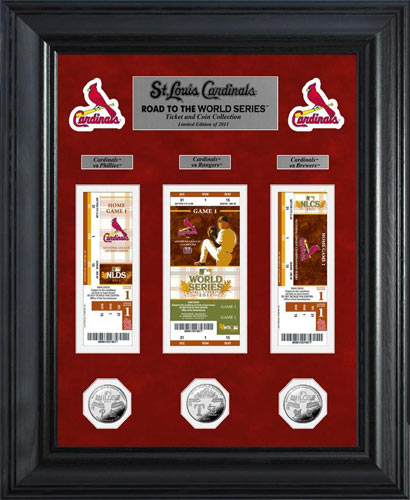 MLB - St. Louis Cardinals - World Series 2011 - Tickets - Coins - Framed Picture