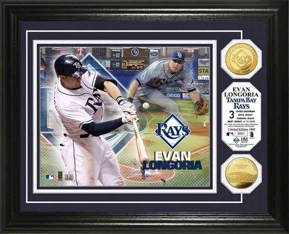 MLB - Tampa Bay Rays - Evan Longoria - Gold Coins - Framed Picture