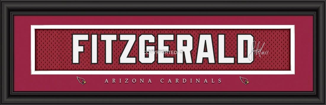 NFL - Arizona Cardinals - Signature Jersey Nameplate - Larry Fitzgerald - Framed Picture