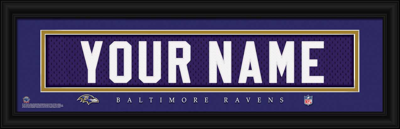 NFL - Baltimore Ravens - Personalized Jersey Nameplate - Framed Picture