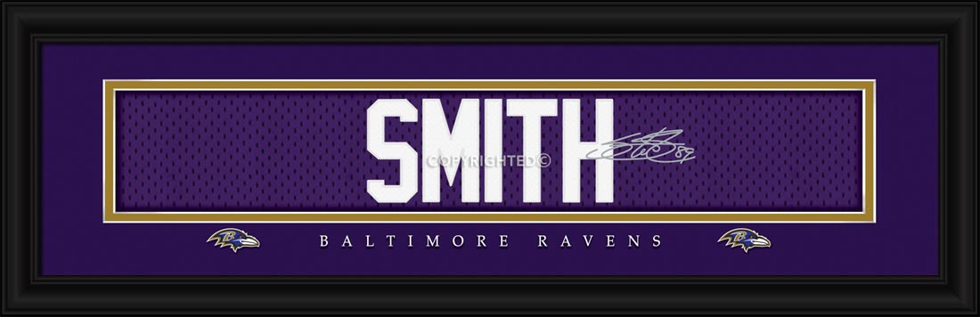 NFL - Baltimore Ravens - Signature Jersey Nameplate - Steve Smith - Framed Picture