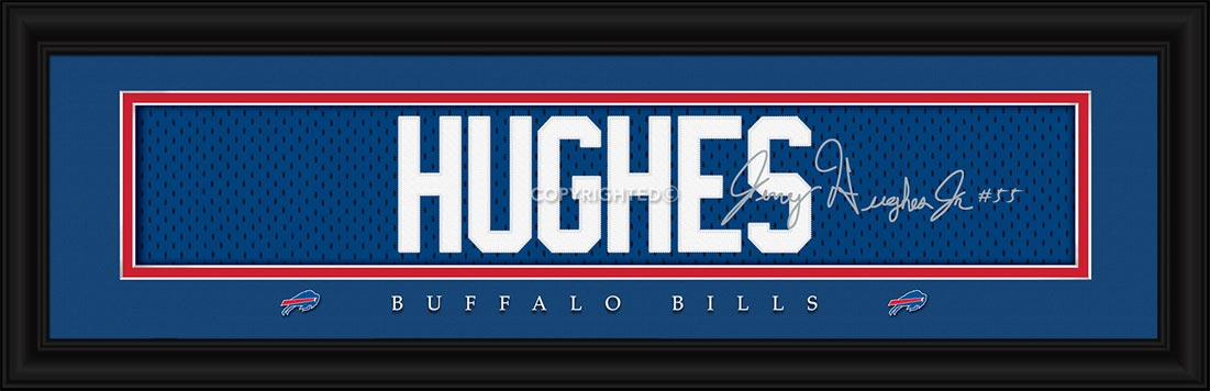 NFL - Buffalo Bills - Signature Jersey Nameplate - Jerry Hughes - Framed Picture