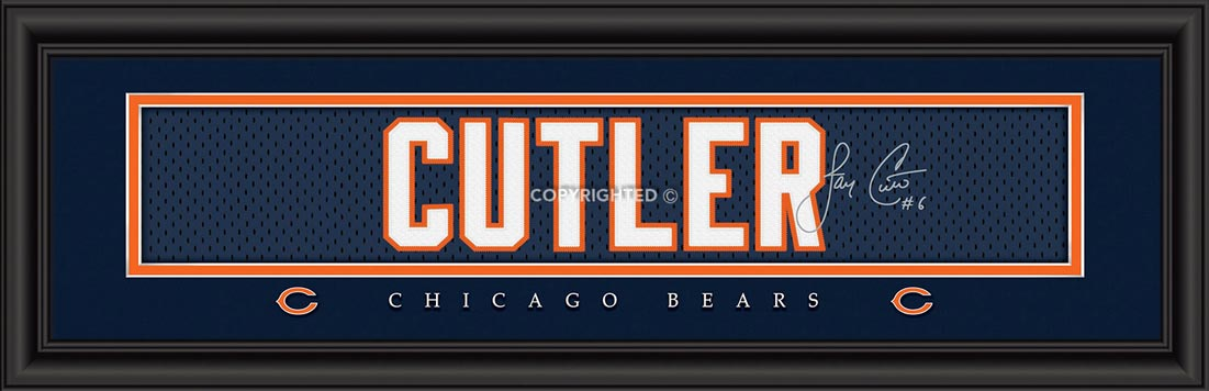 NFL - Chicago Bears - Signature Jersey Nameplate - Jay Cutler - Framed Picture